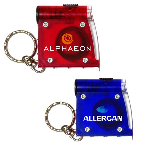 Custom Printed Tape Measure with Keychain Flashlights
