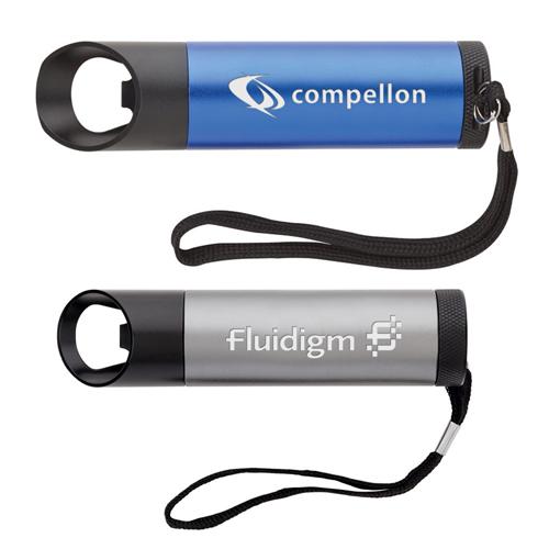 Logo Imprinted 9 LED Flashlight and Bottle Openers