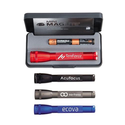 Customized Mini Mag-Lite 2 AA Flashlights - 4 Colors
