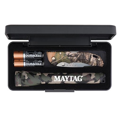 Promotional AA Camo Mini Maglite Flashlights with Buck Bantam BBW Camo Lockback Knives